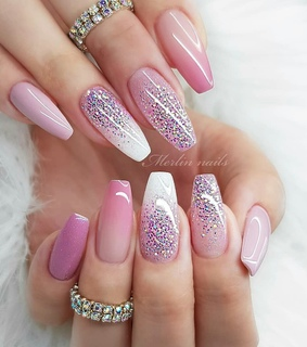 girl, pink nails and glitter