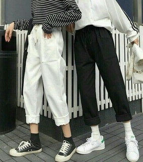 ulzzang fashion, stripes and shoes