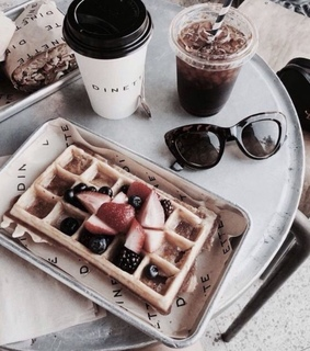 waffle, drink and tray