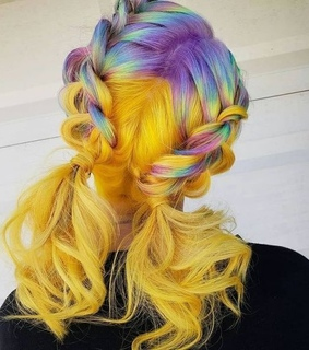 colorful, dyed hair and hair