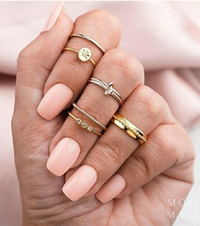 woman, nails and aneis