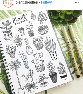 bujo, plant doodles and journaling