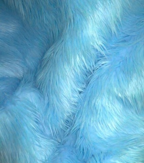 furry, blue and feathers