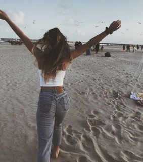 beach, girl and vintage