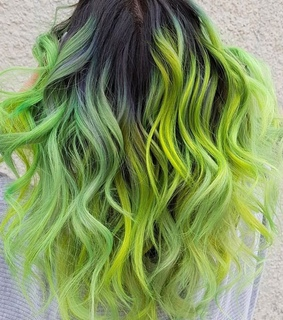 green hair, colored hair and hairstyles