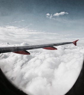 travel, clouds and plane