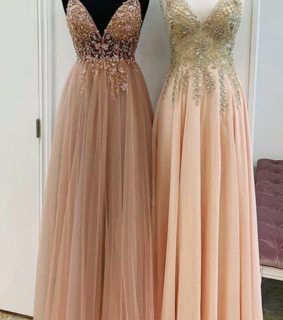prom dresses 2020, beaded prom dress and champagne prom dress