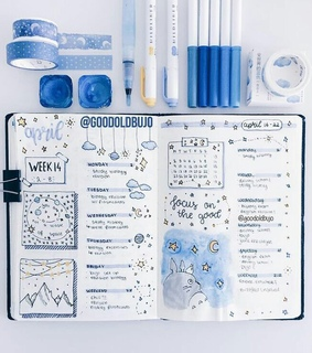 week, bullet journal and stars
