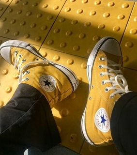 yellow, tennis and converse