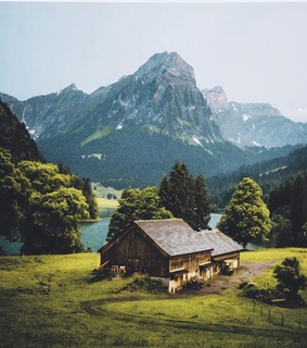 mountain, house and places