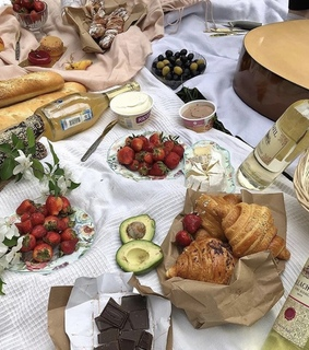olives, baguette and strawberries
