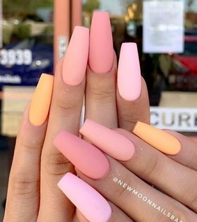 peach, nail art and matte