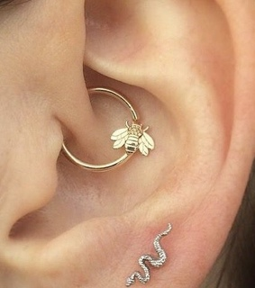 earrings, snake and piercing