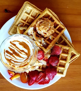 food, waffle and snack