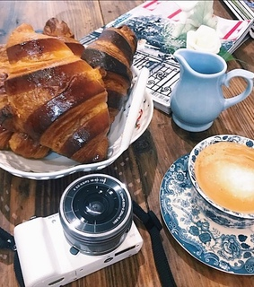 pastries, coffee and croissant