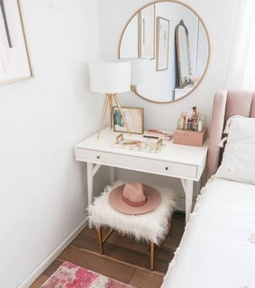 bed, vanity and gold