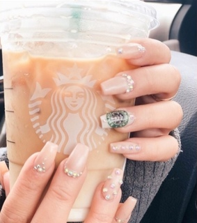 nail polish, latte and pearls