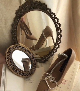 mirror, shoes and fancy