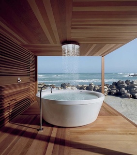 wood floor, architecture and water