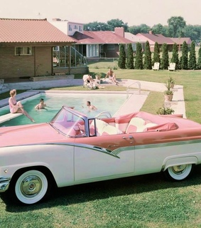 good old times, pink car and 1950s