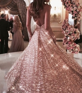 aesthetic wedding, pink dress and rose gold