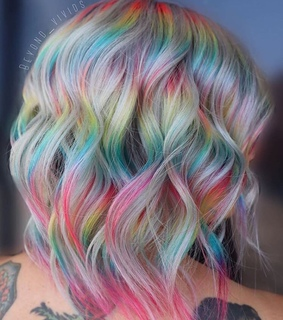 aesthetic rainbow, unicorn and short hair