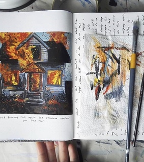 artsy, fire and journals