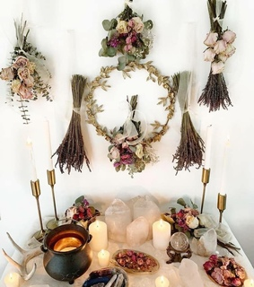 crystals, candles and wicca altar