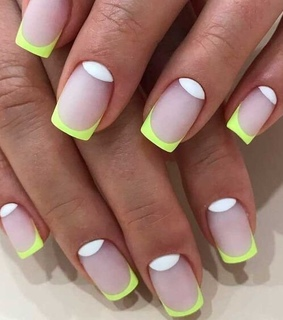 nail design, french manicure and neon