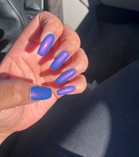 nails, pink and purple