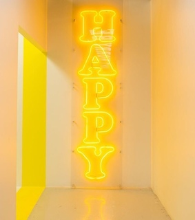 neon sign, happy and neon
