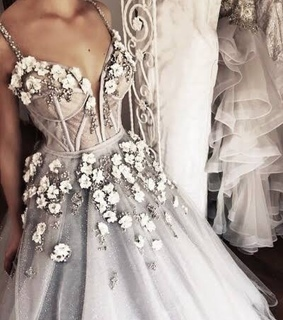 wedding dress, gray and classy