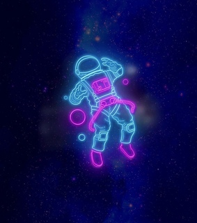 astronaut, neon light and fuxia