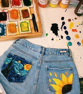 vsco, shorts and acrylic paint