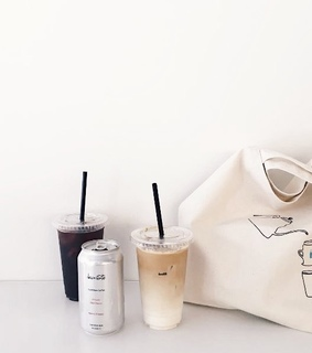 coffee, white aesthetic and tote bag