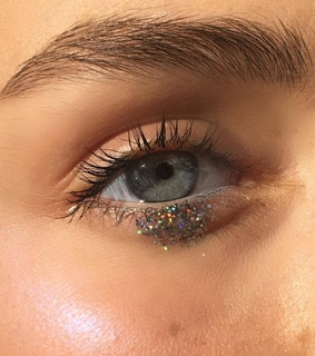 eyelashes, girl and glitter