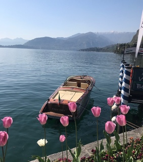 mountains, boat and nature
