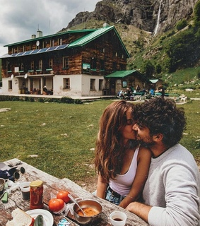 nature, kiss and couple