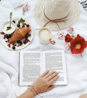 book, flowers and cup of coffee