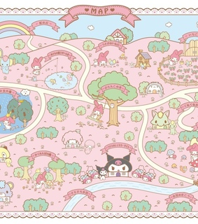cute, hello kitty and map