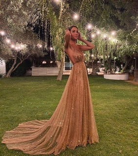 model, gold and dresses