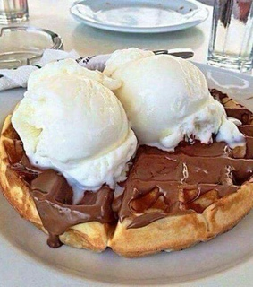 waffle, sweet and food