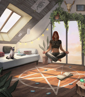 digital 2d, bedroom and witch
