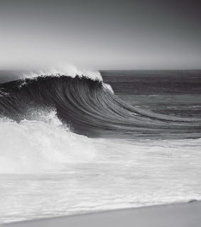 black, storm and wave