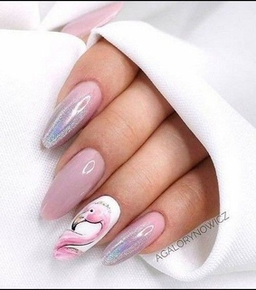 pink, spring nails and flamingo