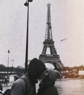 eiffel tower, couple and travel