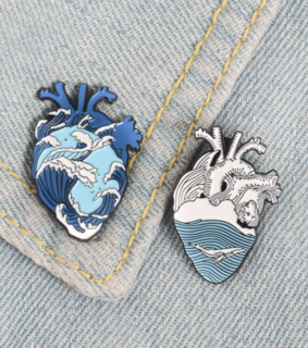 heart, pin and blue