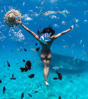 fishes, blue and girl