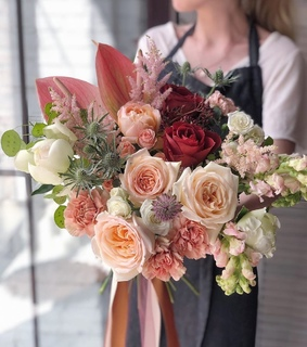 bouquet, pastel and pink