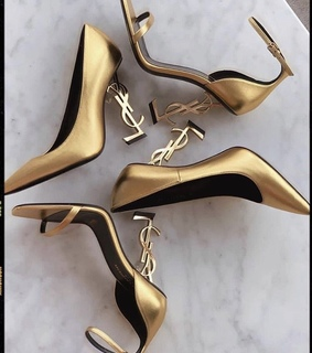 gold, YSL and shoe